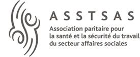 Logo : Association paritaire pour la santé et la sécurité au travail du secteur des affaires sociales. Des lignes courbes montantes et descendantes se rencontrent.