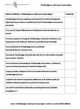 Asstsas grille de v rification chafaudage sur cadres - Grille indiciaire cadre de sante paramedical ...